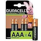 Duracell Pilas Recargables AAA 750 mAh, paquete de 4, Color Verde