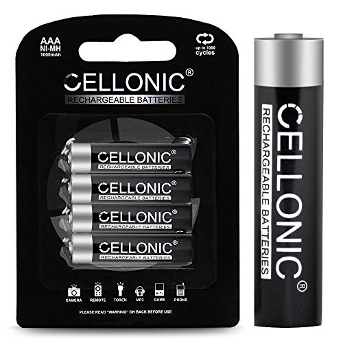 CELLONIC baterías Recargables AAA - 1000mAh - Vienen cargadas - Larga Vida y duración - 4X Pila AAA/Micro / R03 / LR03 NiMH
