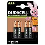Duracell - Plus Pilas Recargables AAA 750 mAh, paquete de 4